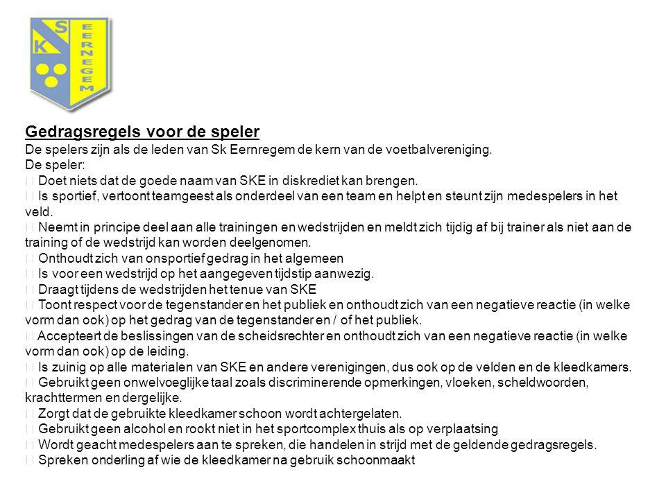 Gedragsregels voor de speler De spelers zijn als de leden van Sk Eernregem de kern van de voetbalvereniging.