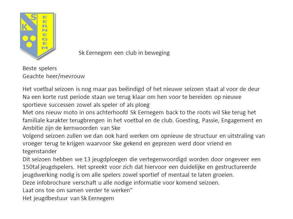 Sk Eernegem een club in beweging Beste spelers Geachte heer/mevrouw Het voetbal seizoen is nog maar pas beëindigd of het nieuwe seizoen staat al voor