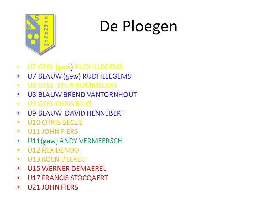 De Ploegen U7 GEEL (gew) RUDI ILLEGEMS U7 BLAUW (gew) RUDI ILLEGEMS U8 GEEL STIJN ROMMELARE U8 BLAUW BREND VANTORNHOUT U9 GEEL CHRIS BILKE U9 BLAUW DAVID HENNEBERT U10 CHRIS BECUE U11 JOHN FIERS U11(gew) ANDY VERMEERSCH U12 REX DENOO U13 KOEN DELREU U15 WERNER DEMAEREL U17 FRANCIS STOCQAERT U21 JOHN FIERS