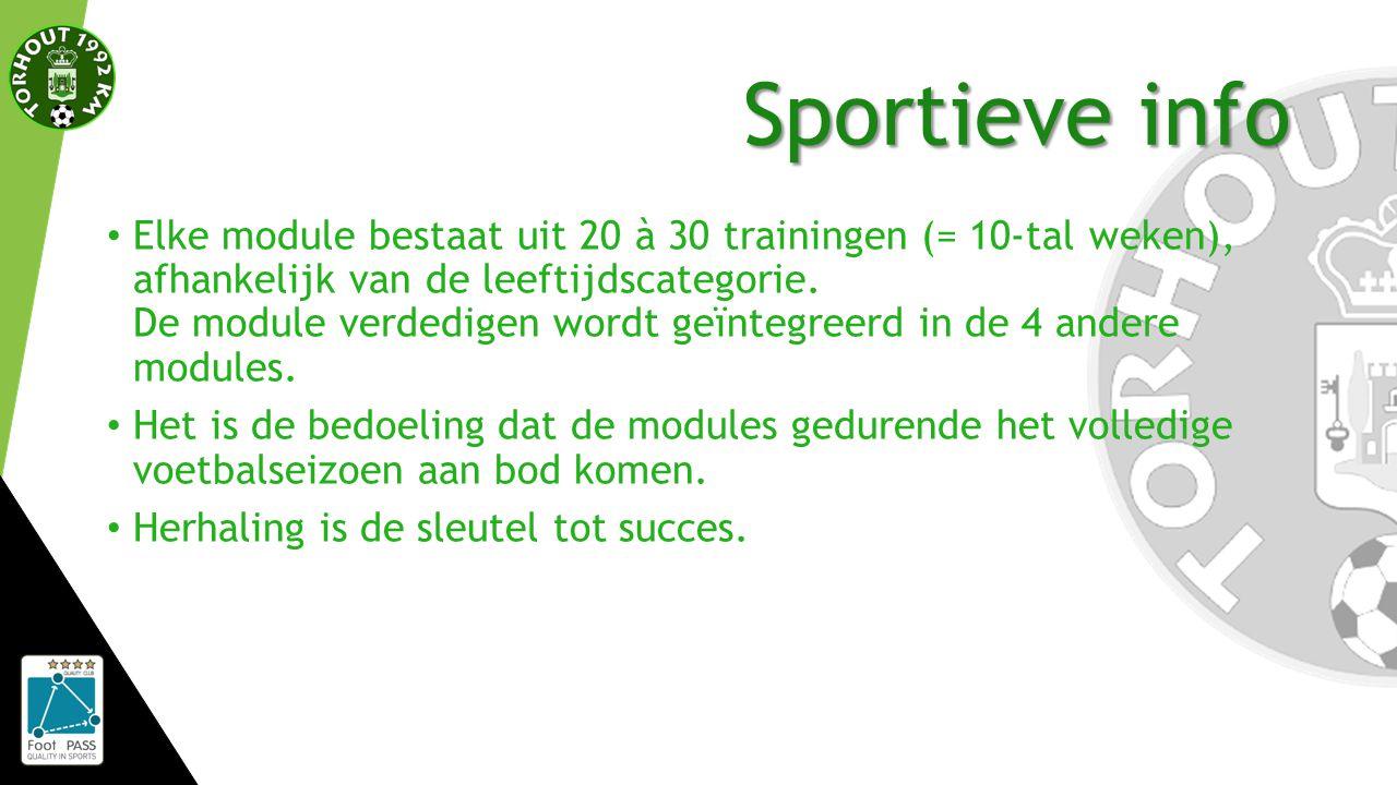 Sportieve info Elke module bestaat uit 20 à 30 trainingen (= 10-tal weken), afhankelijk van de leeftijdscategorie.