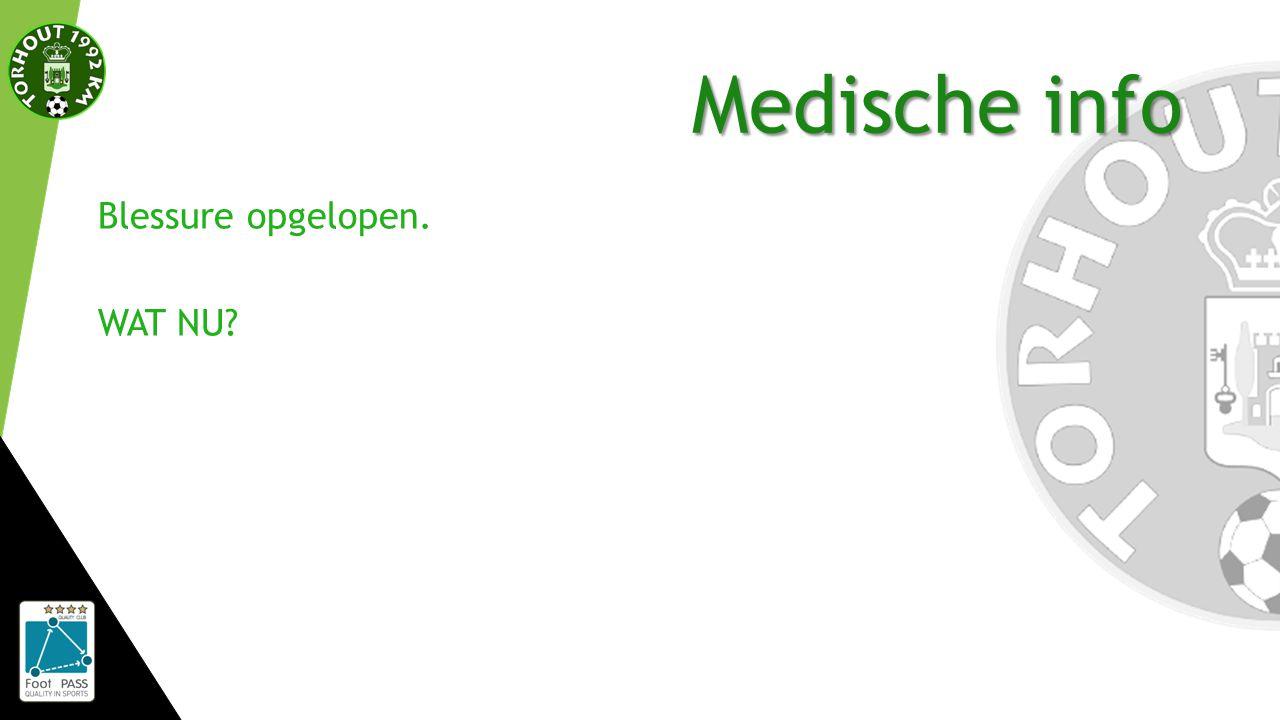 Medische info Blessure opgelopen. WAT NU