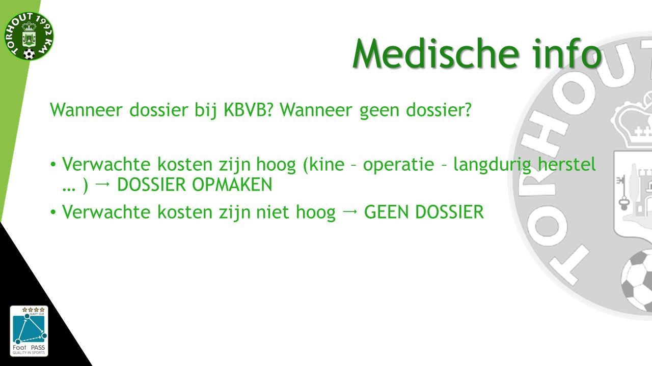 Medische info Wanneer dossier bij KBVB. Wanneer geen dossier.