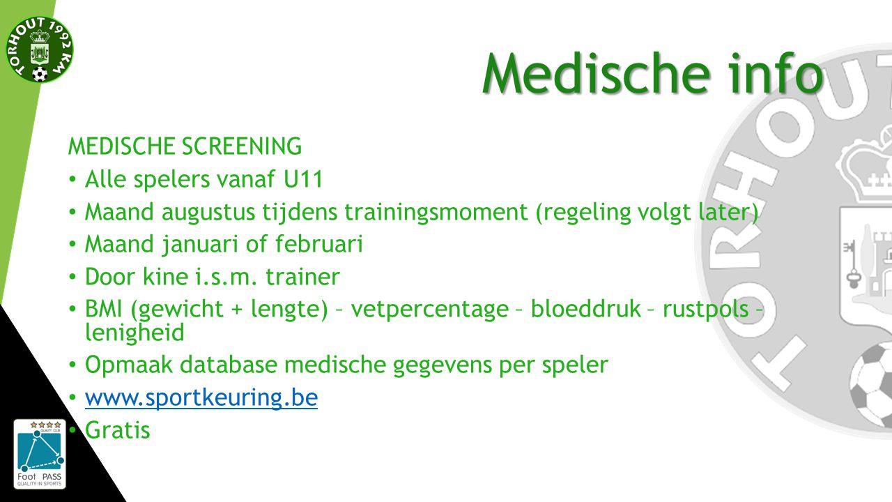 Medische info MEDISCHE SCREENING Alle spelers vanaf U11 Maand augustus tijdens trainingsmoment (regeling volgt later) Maand januari of februari Door kine i.s.m.
