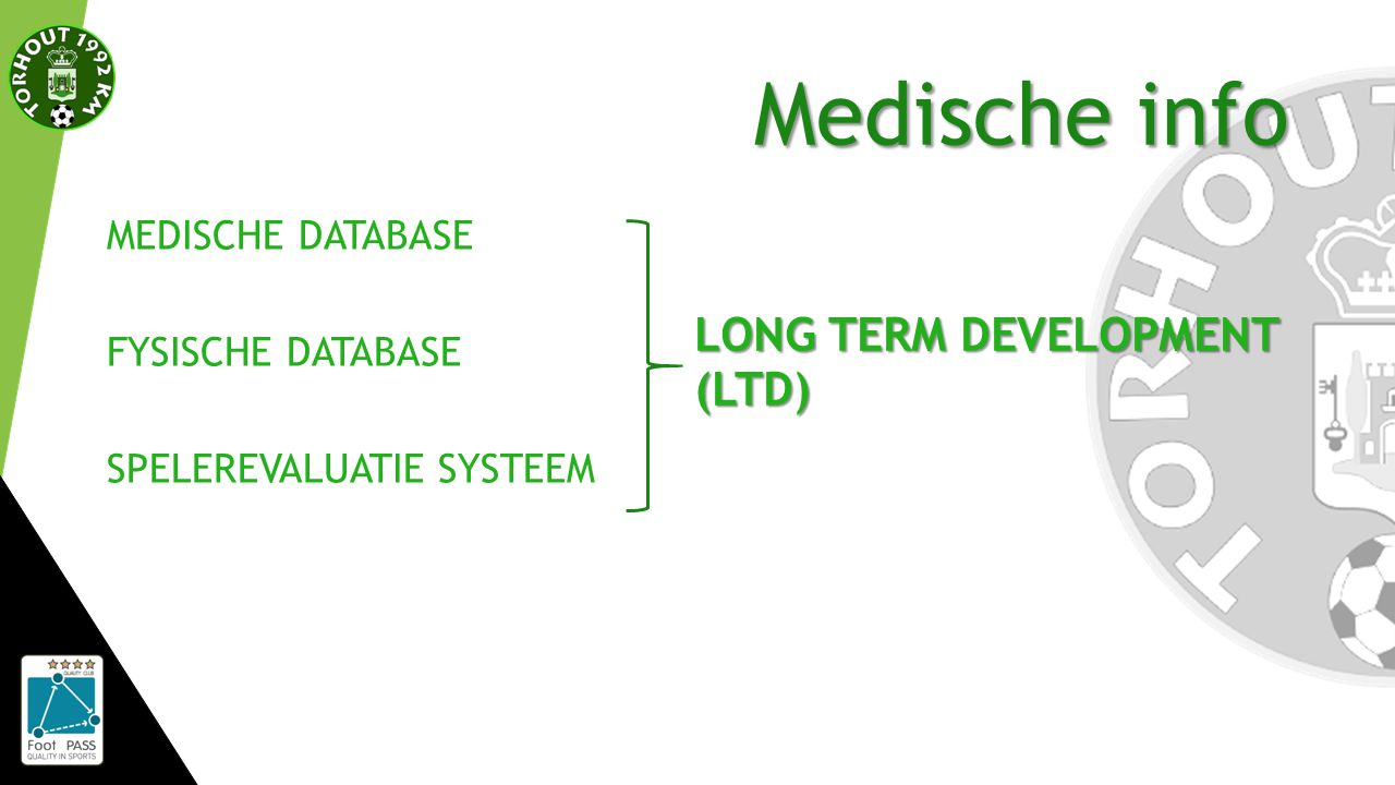 Medische info MEDISCHE DATABASE FYSISCHE DATABASE SPELEREVALUATIE SYSTEEM LONG TERM DEVELOPMENT (LTD)