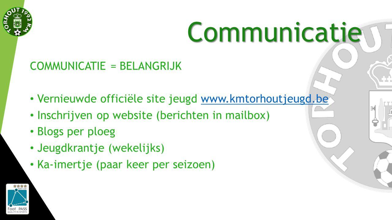 Communicatie COMMUNICATIE = BELANGRIJK Vernieuwde officiële site jeugd www.kmtorhoutjeugd.bewww.kmtorhoutjeugd.be Inschrijven op website (berichten in mailbox) Blogs per ploeg Jeugdkrantje (wekelijks) Ka-imertje (paar keer per seizoen)