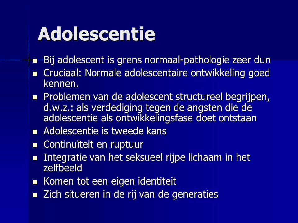Adolescentie Bij adolescent is grens normaal-pathologie zeer dun Bij adolescent is grens normaal-pathologie zeer dun Cruciaal: Normale adolescentaire ontwikkeling goed kennen.
