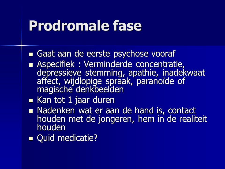 Prodromale fase Gaat aan de eerste psychose vooraf Gaat aan de eerste psychose vooraf Aspecifiek : Verminderde concentratie, depressieve stemming, apa