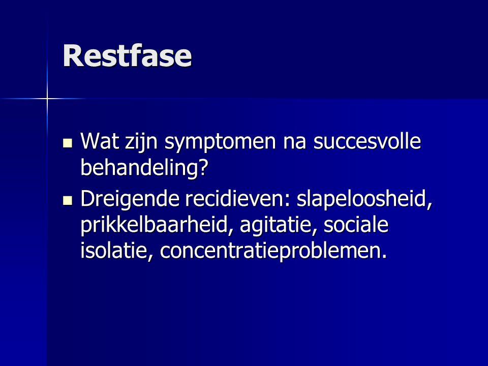 Restfase Wat zijn symptomen na succesvolle behandeling? Wat zijn symptomen na succesvolle behandeling? Dreigende recidieven: slapeloosheid, prikkelbaa