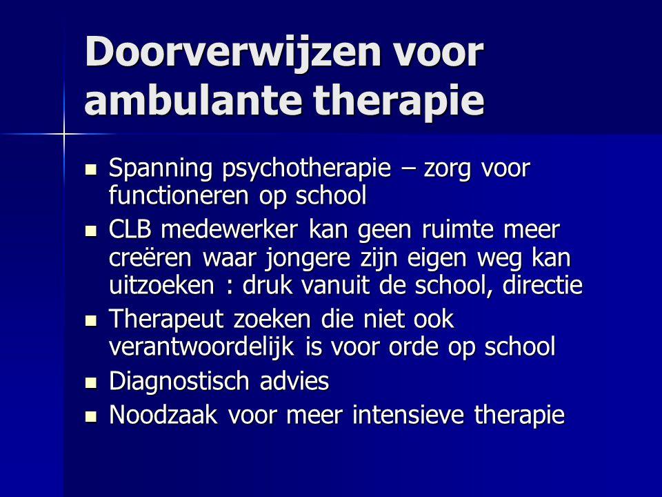 Doorverwijzen voor ambulante therapie Spanning psychotherapie – zorg voor functioneren op school Spanning psychotherapie – zorg voor functioneren op s