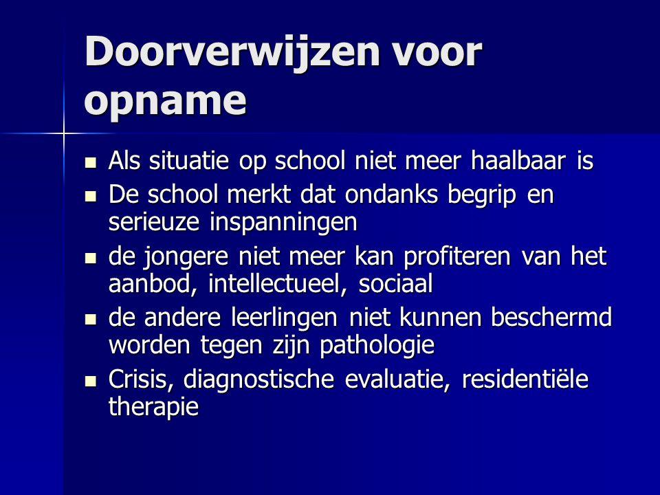 Doorverwijzen voor opname Als situatie op school niet meer haalbaar is Als situatie op school niet meer haalbaar is De school merkt dat ondanks begrip