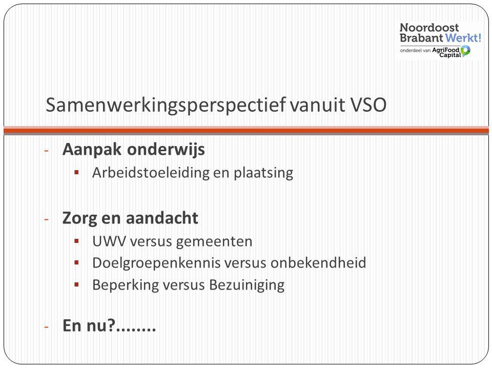Samenwerkingsperspectief vanuit VSO - Aanpak onderwijs  Arbeidstoeleiding en plaatsing - Zorg en aandacht  UWV versus gemeenten  Doelgroepenkennis