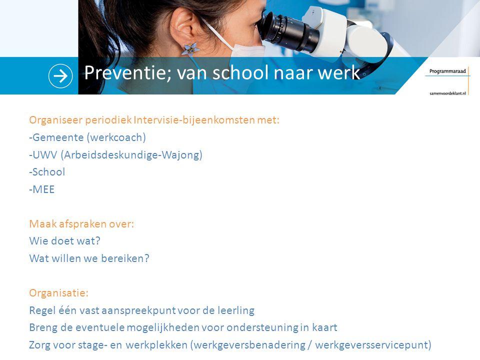 Preventie; van school naar werk Organiseer periodiek Intervisie-bijeenkomsten met: -Gemeente (werkcoach) -UWV (Arbeidsdeskundige-Wajong) -School -MEE