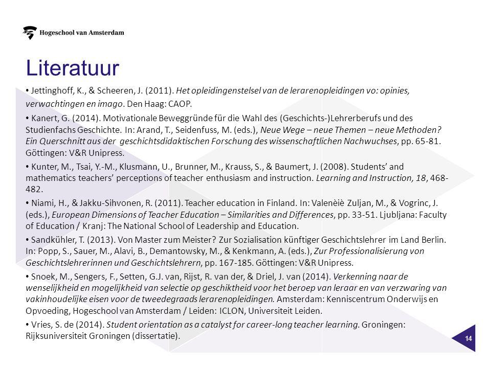 14 Literatuur Jettinghoff, K., & Scheeren, J. (2011).