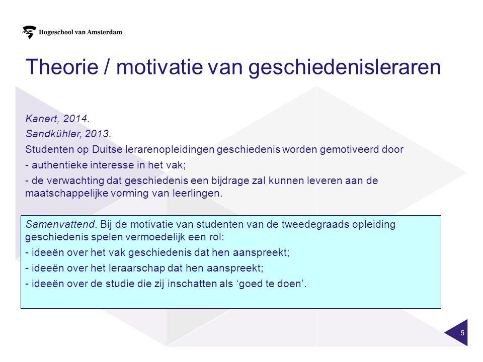 5 Theorie / motivatie van geschiedenisleraren Kanert, 2014.