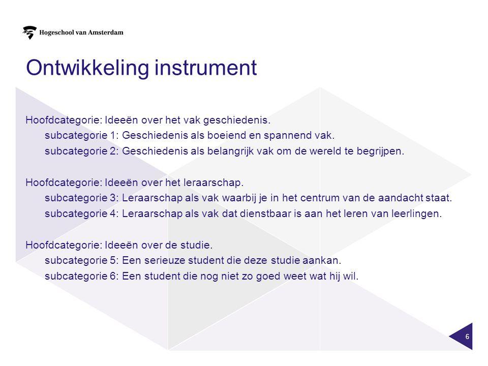 6 Ontwikkeling instrument Hoofdcategorie: Ideeën over het vak geschiedenis.