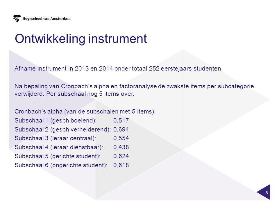 8 Ontwikkeling instrument Afname instrument in 2013 en 2014 onder totaal 252 eerstejaars studenten.