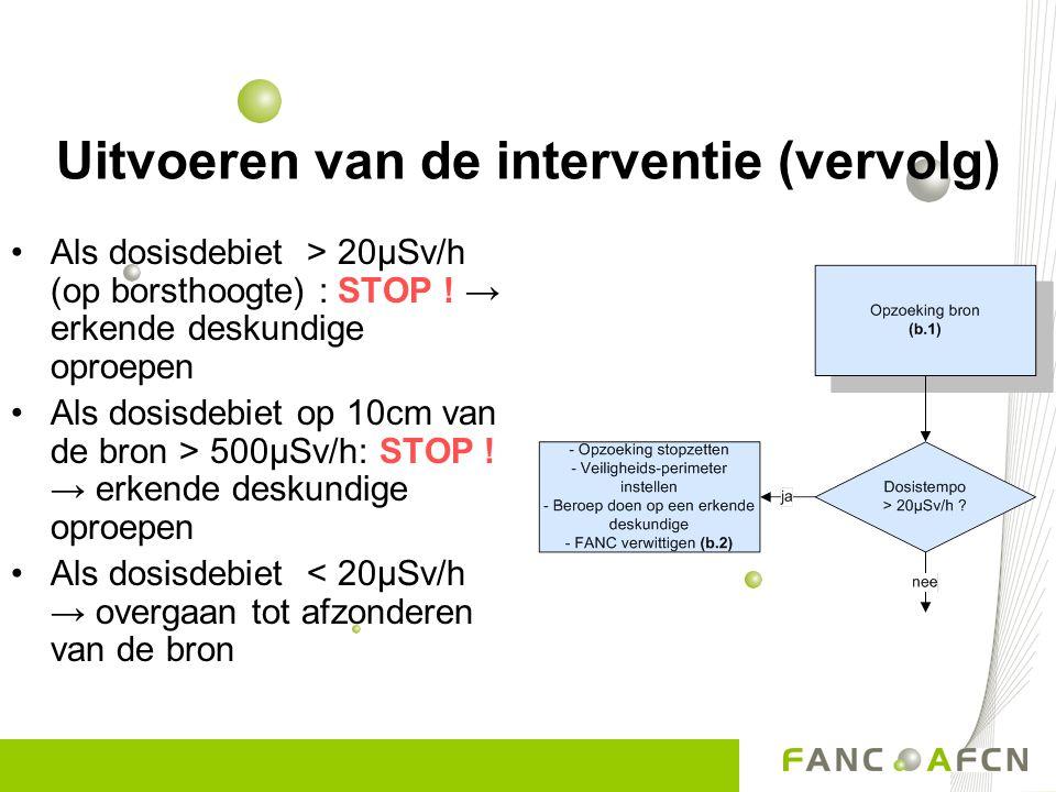 Uitvoeren van de interventie (vervolg) Als dosisdebiet > 20µSv/h (op borsthoogte) : STOP ! → erkende deskundige oproepen Als dosisdebiet op 10cm van d