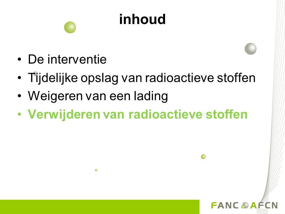 inhoud De interventie Tijdelijke opslag van radioactieve stoffen Weigeren van een lading Verwijderen van radioactieve stoffen