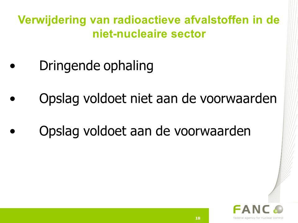 18 Dringende ophaling Opslag voldoet niet aan de voorwaarden Opslag voldoet aan de voorwaarden 18 Verwijdering van radioactieve afvalstoffen in de nie