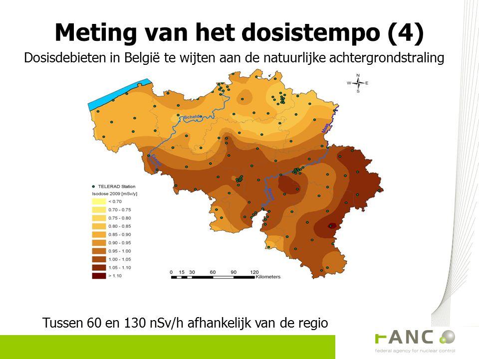 Dosisdebieten in België te wijten aan de natuurlijke achtergrondstraling Tussen 60 en 130 nSv/h afhankelijk van de regio Meting van het dosistempo (4)