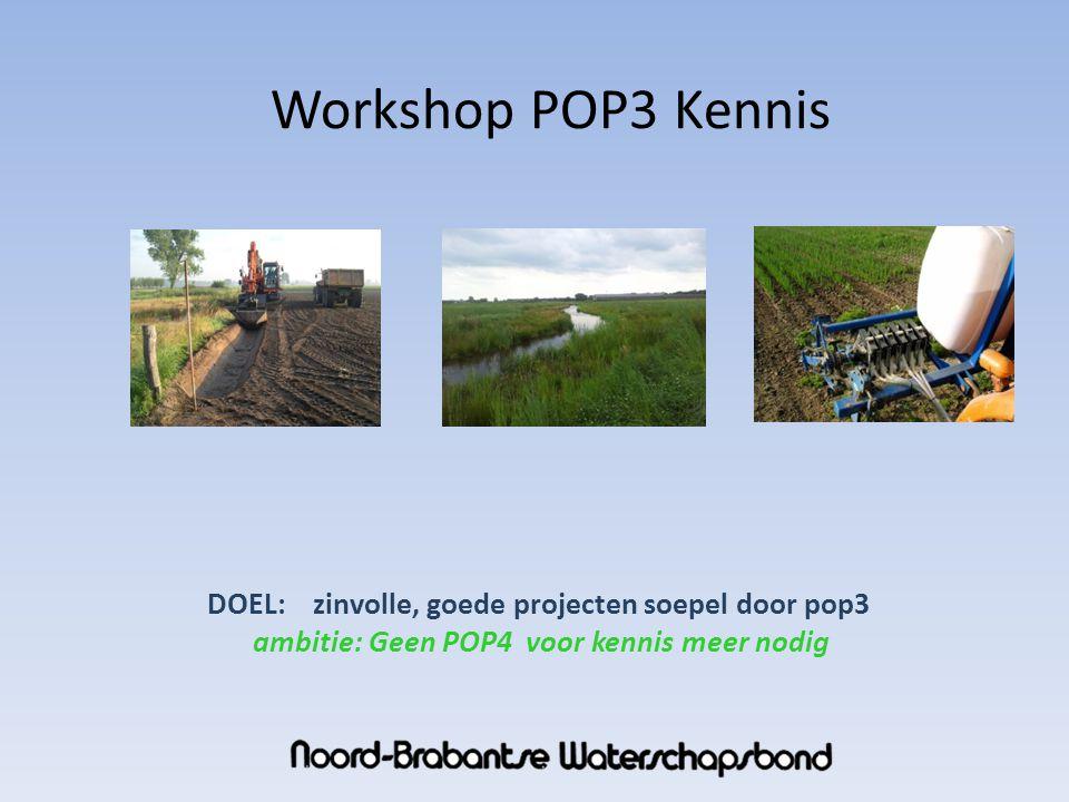 Programma (16:00 – 17:30) 1.de POP3 regeling Kennis (10 minuten) 2.Dromen vanuit het waterschap (5 minuten) 3.Kader voor projecten (BEWUST & DHZ) (10 minuten) 4.Voorbeeld projecten – Toolbox gewasbeschermingsmiddelen (20 minuten ) 5.Discussie over inrichting regeling: criteria/vereisten Aanpassingen nodig.