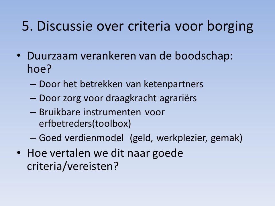 5. Discussie over criteria voor borging Duurzaam verankeren van de boodschap: hoe? – Door het betrekken van ketenpartners – Door zorg voor draagkracht