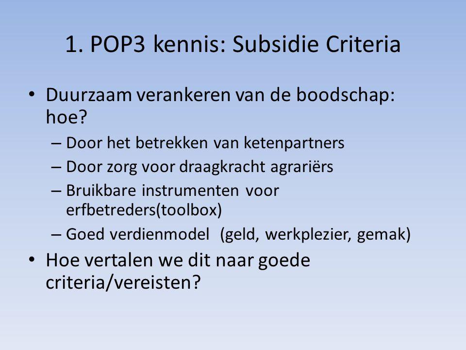 1. POP3 kennis: Subsidie Criteria Duurzaam verankeren van de boodschap: hoe? – Door het betrekken van ketenpartners – Door zorg voor draagkracht agrar