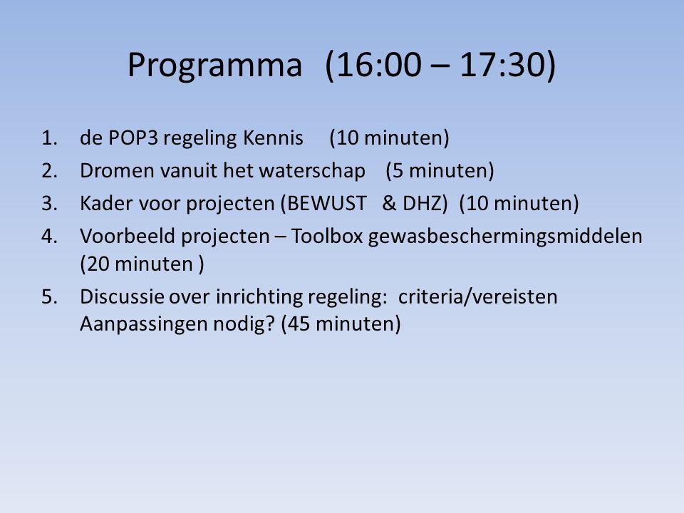 Programma (16:00 – 17:30) 1.de POP3 regeling Kennis (10 minuten) 2.Dromen vanuit het waterschap (5 minuten) 3.Kader voor projecten (BEWUST & DHZ) (10