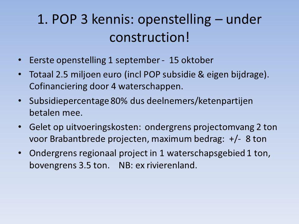 1. POP 3 kennis: openstelling – under construction! Eerste openstelling 1 september - 15 oktober Totaal 2.5 miljoen euro (incl POP subsidie & eigen bi