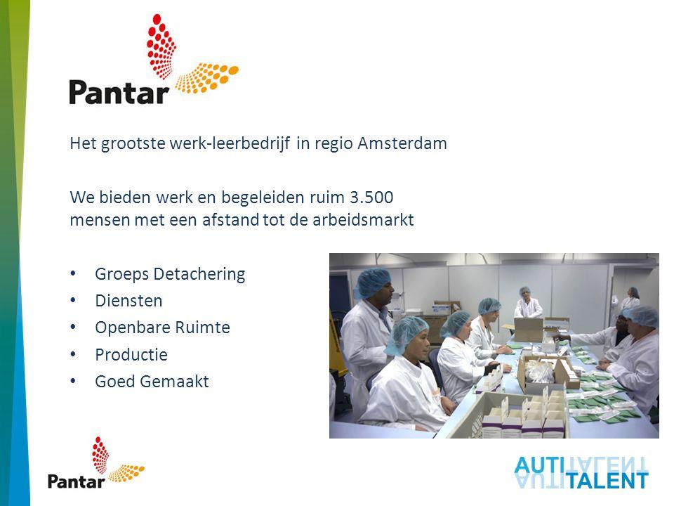 Pantar Het grootste werk-leerbedrijf in regio Amsterdam We bieden werk en begeleiden ruim 3.500 mensen met een afstand tot de arbeidsmarkt Groeps Detachering Diensten Openbare Ruimte Productie Goed Gemaakt