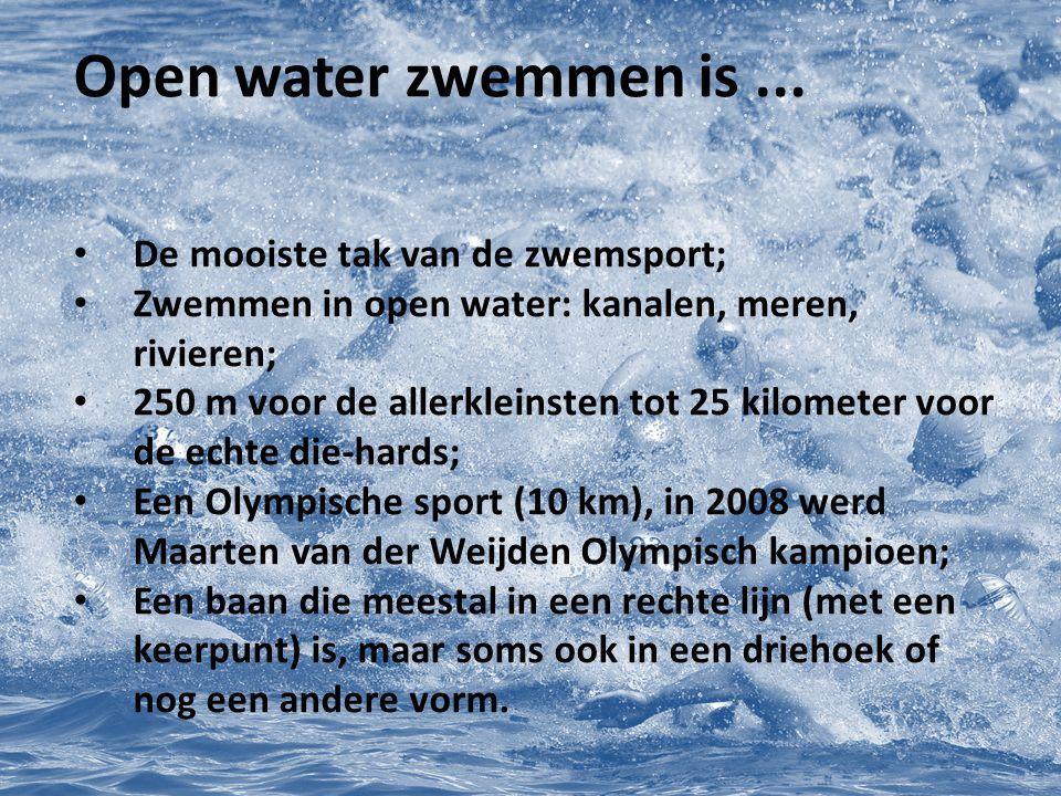 De voorbereiding 1 à 2 weken voor de wedstrijd Oefen een keer in open water (zie trainingslocatie); Oefen een keer de afstand die je gaat zwemmen (kan in zwembad).