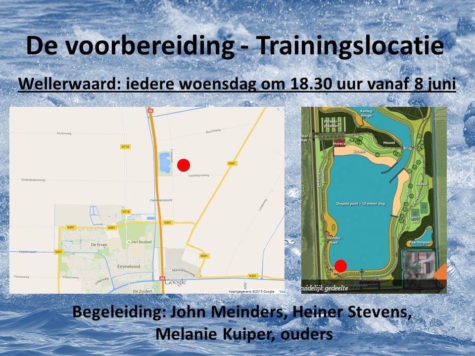 De voorbereiding - Trainingslocatie Wellerwaard: iedere woensdag om 18.30 uur vanaf 8 juni Begeleiding: John Meinders, Heiner Stevens, Melanie Kuiper,