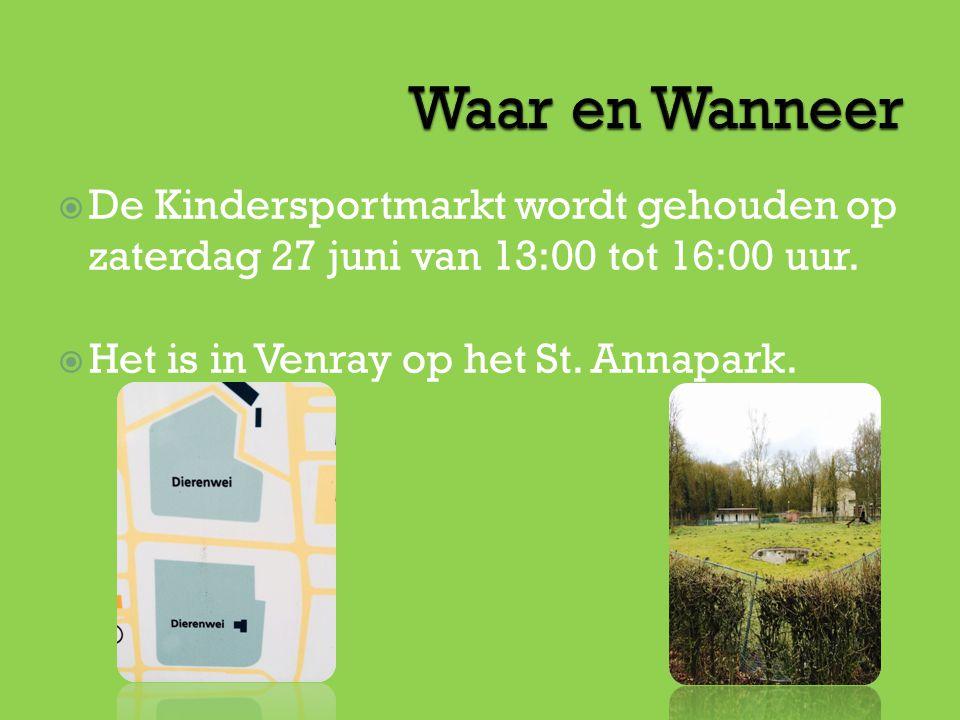  De Kindersportmarkt wordt gehouden op zaterdag 27 juni van 13:00 tot 16:00 uur.