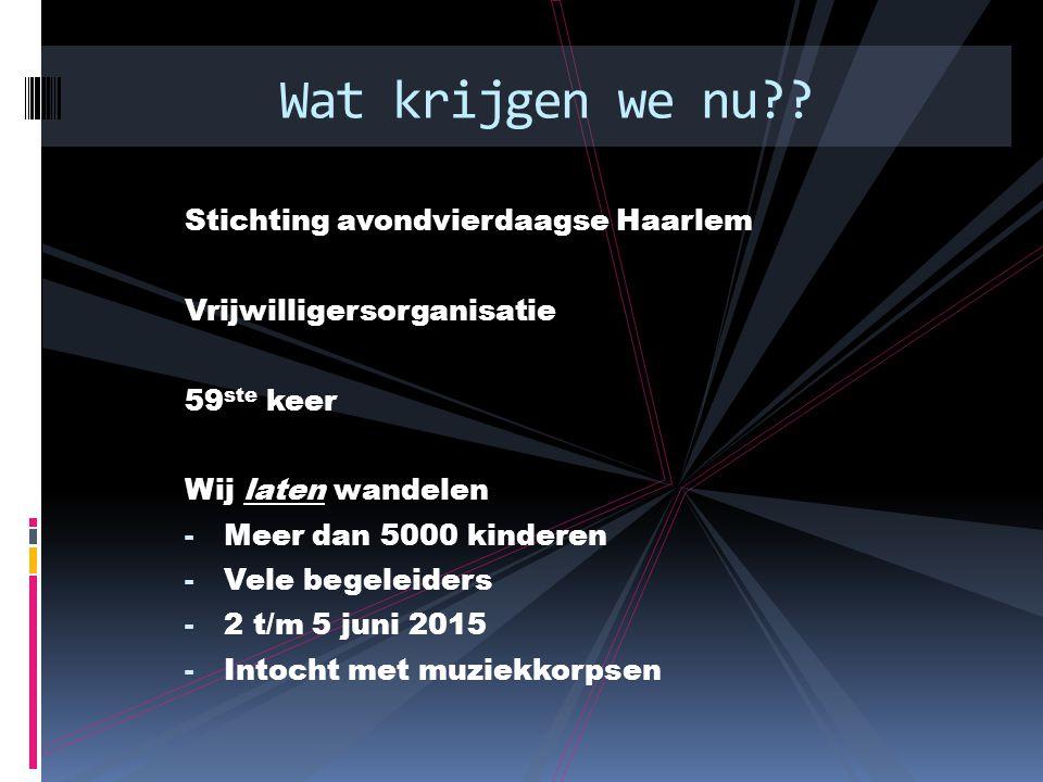 Stichting avondvierdaagse Haarlem Vrijwilligersorganisatie 59 ste keer Wij laten wandelen - Meer dan 5000 kinderen - Vele begeleiders - 2 t/m 5 juni 2015 - Intocht met muziekkorpsen Wat krijgen we nu
