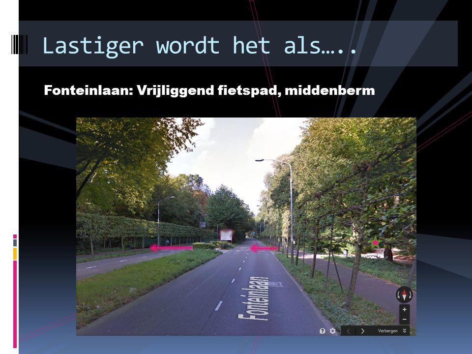 Fonteinlaan: Vrijliggend fietspad, middenberm Lastiger wordt het als…..