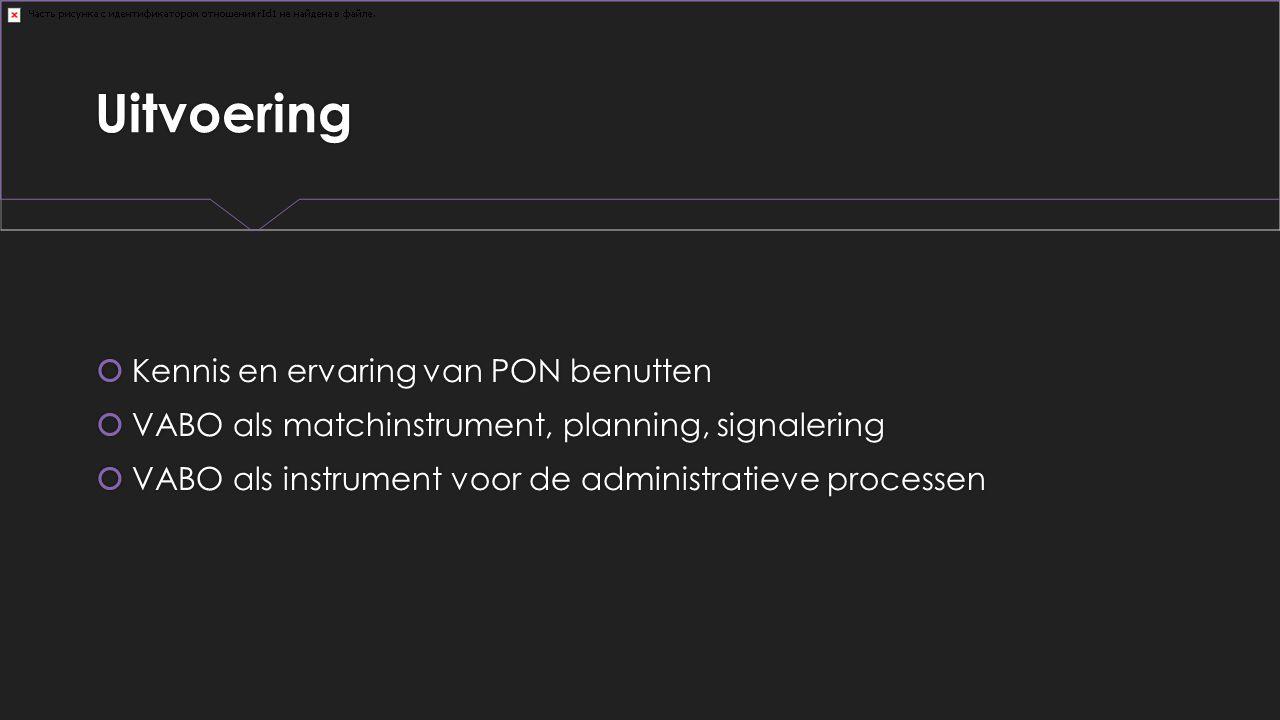 Uitvoering  Kennis en ervaring van PON benutten  VABO als matchinstrument, planning, signalering  VABO als instrument voor de administratieve proce