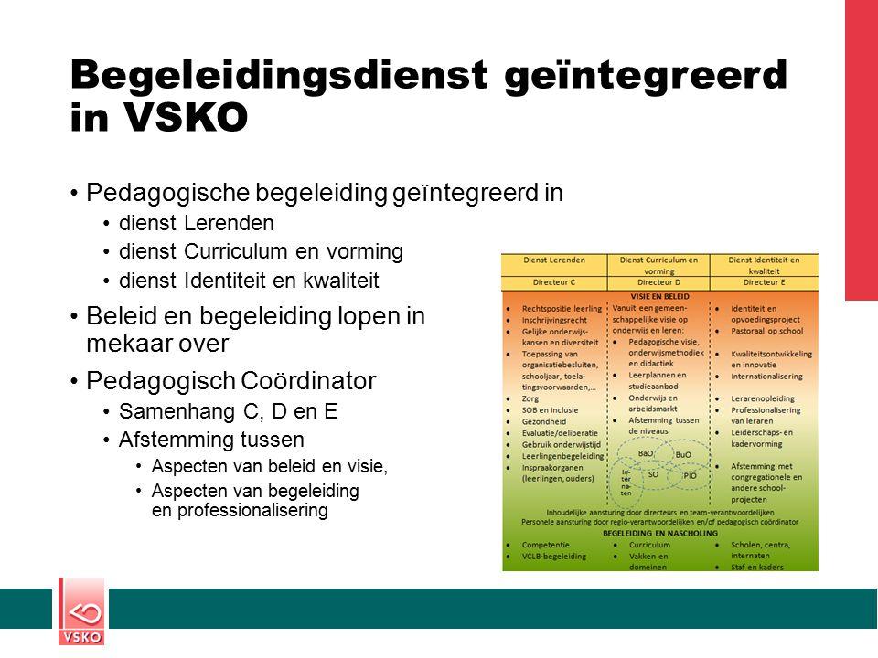 Begeleidingsdienst geïntegreerd in VSKO Pedagogische begeleiding geïntegreerd in dienst Lerenden dienst Curriculum en vorming dienst Identiteit en kwa