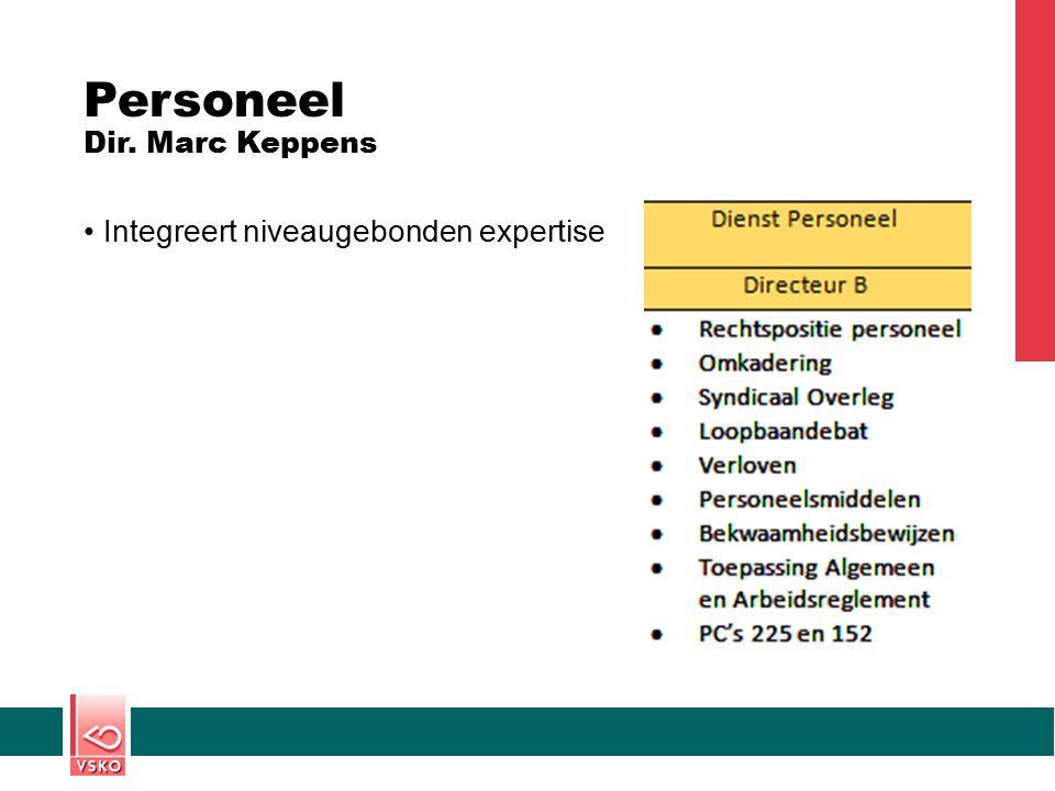 Personeel Dir. Marc Keppens Integreert niveaugebonden expertise
