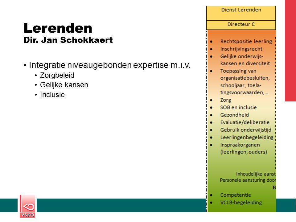 Lerenden Dir. Jan Schokkaert Integratie niveaugebonden expertise m.i.v. Zorgbeleid Gelijke kansen Inclusie
