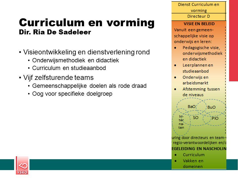 Curriculum en vorming Dir. Ria De Sadeleer Visieontwikkeling en dienstverlening rond Onderwijsmethodiek en didactiek Curriculum en studieaanbod Vijf z