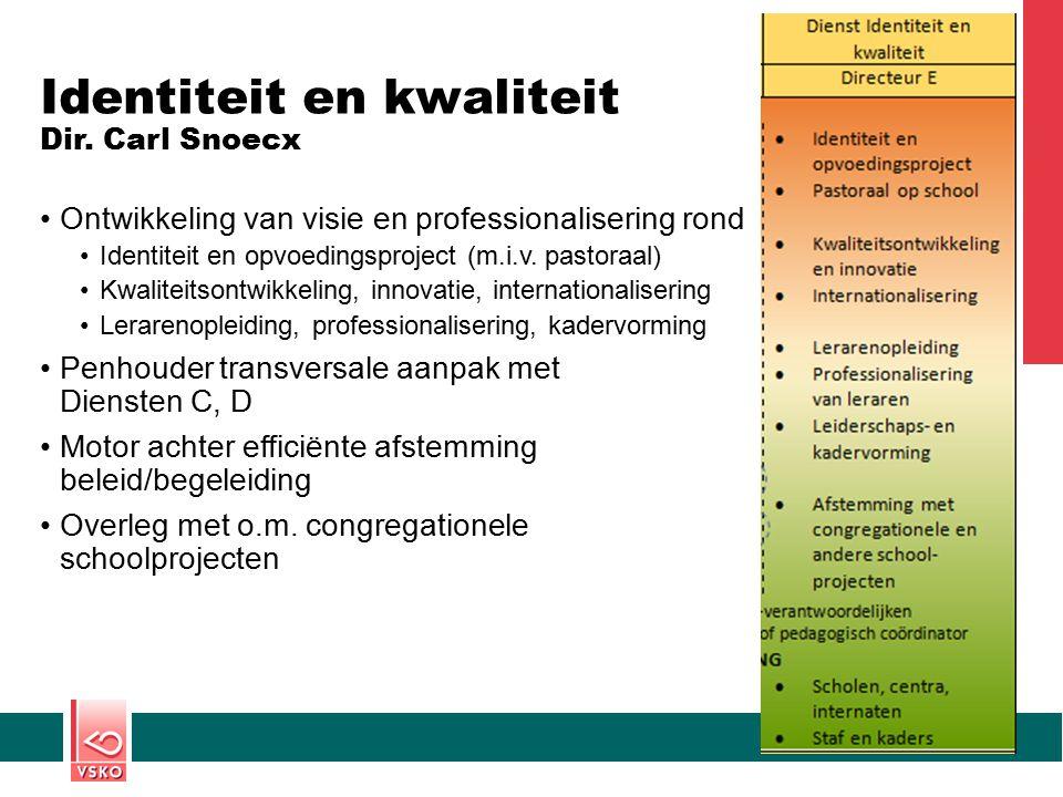 Identiteit en kwaliteit Dir. Carl Snoecx Ontwikkeling van visie en professionalisering rond Identiteit en opvoedingsproject (m.i.v. pastoraal) Kwalite