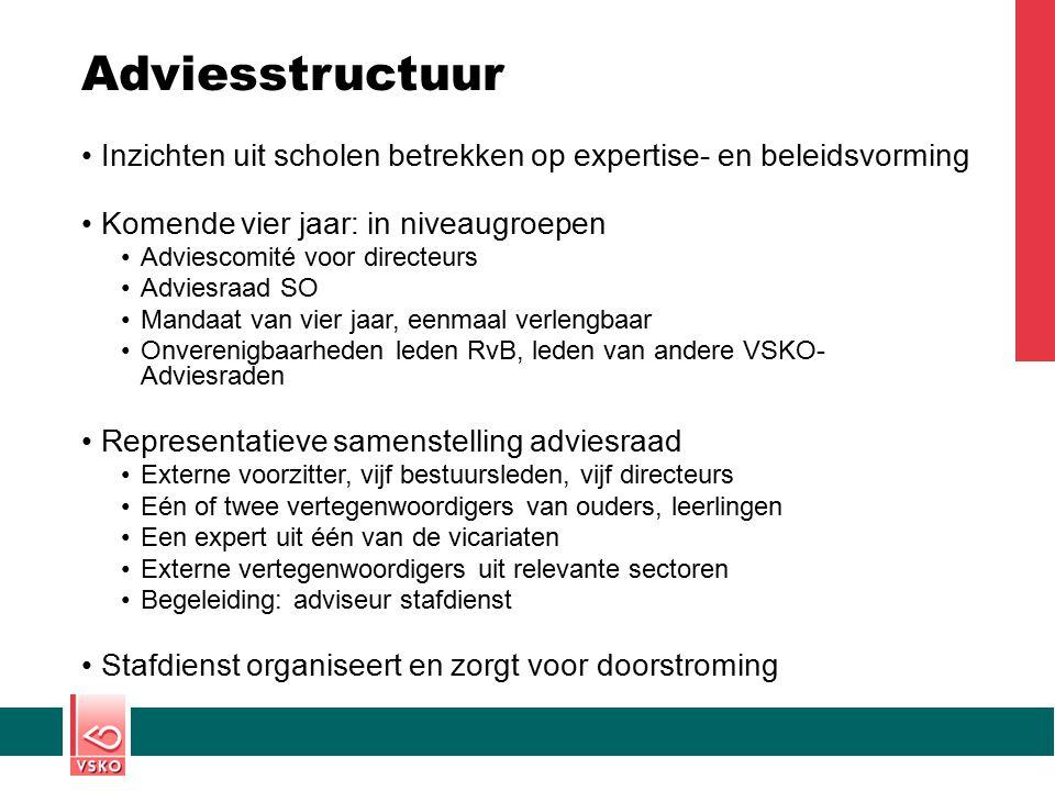 Adviesstructuur Inzichten uit scholen betrekken op expertise- en beleidsvorming Komende vier jaar: in niveaugroepen Adviescomité voor directeurs Advie
