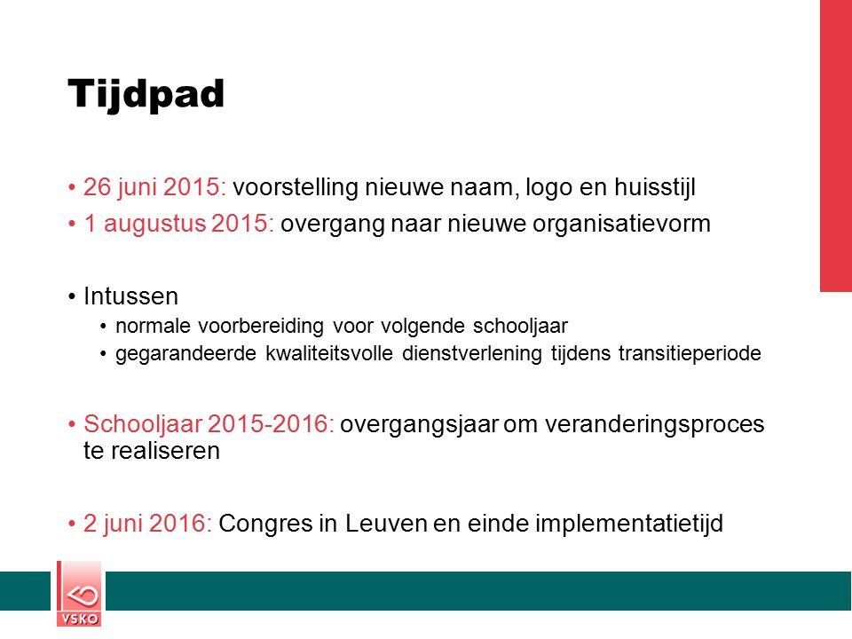 Tijdpad 26 juni 2015: voorstelling nieuwe naam, logo en huisstijl 1 augustus 2015: overgang naar nieuwe organisatievorm Intussen normale voorbereiding