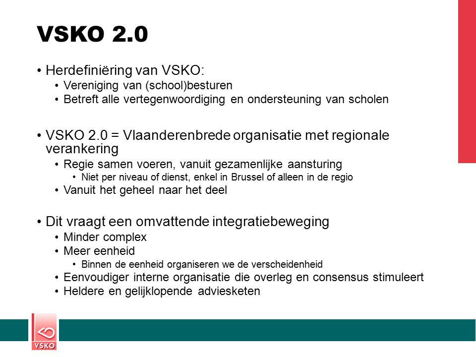 VSKO 2.0 Herdefiniëring van VSKO: Vereniging van (school)besturen Betreft alle vertegenwoordiging en ondersteuning van scholen VSKO 2.0 = Vlaanderenbr