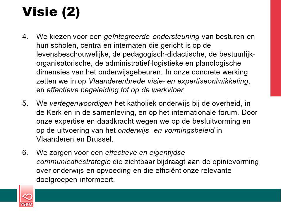 Visie (2) 4.We kiezen voor een geïntegreerde ondersteuning van besturen en hun scholen, centra en internaten die gericht is op de levensbeschouwelijke