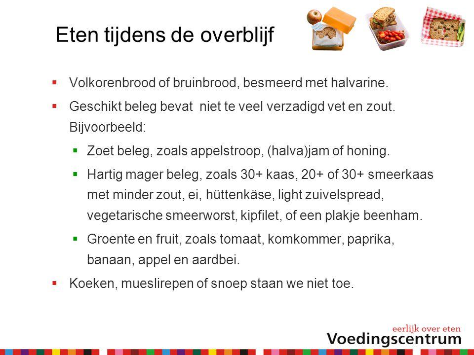 Eten tijdens de overblijf  Volkorenbrood of bruinbrood, besmeerd met halvarine.