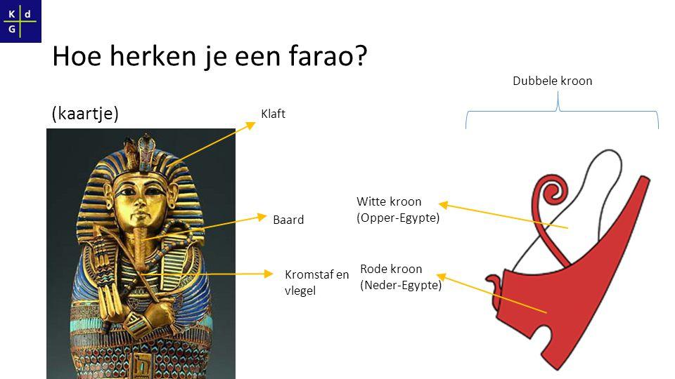 (kaartje) Klaft Baard Kromstaf en vlegel Dubbele kroon Witte kroon (Opper-Egypte) Rode kroon (Neder-Egypte)