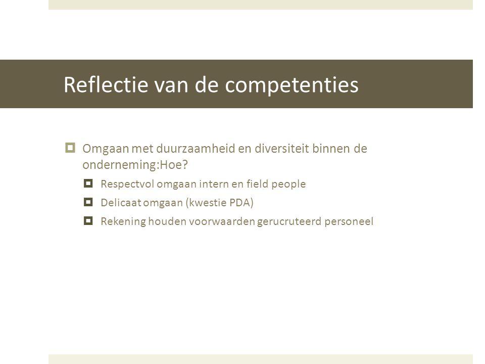 Reflectie van de competenties  Omgaan met duurzaamheid en diversiteit binnen de onderneming:Hoe?  Respectvol omgaan intern en field people  Delicaa