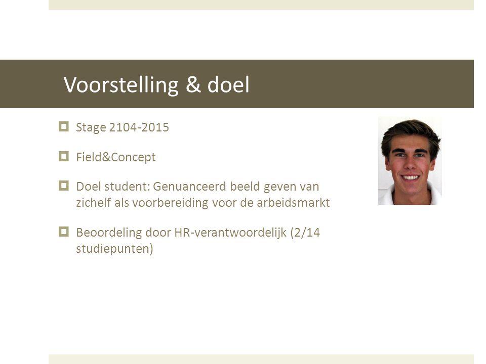 Voorstelling & doel  Stage 2104-2015  Field&Concept  Doel student: Genuanceerd beeld geven van zichelf als voorbereiding voor de arbeidsmarkt  Beo