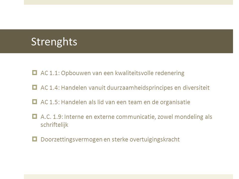 Strenghts  AC 1.1: Opbouwen van een kwaliteitsvolle redenering  AC 1.4: Handelen vanuit duurzaamheidsprincipes en diversiteit  AC 1.5: Handelen als